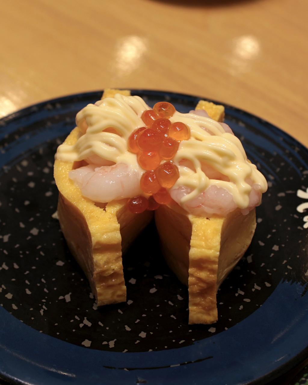 Sweet shrimp, tamago and roe at Sushi Kuine in Kanazawa, Japan