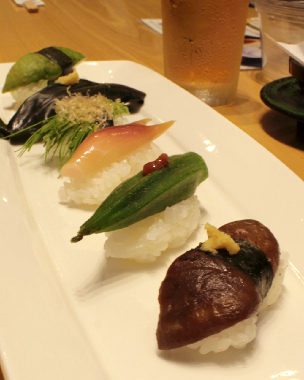 Vegetable sushi platter at Sushi Kuine in Kanazawa, Japan