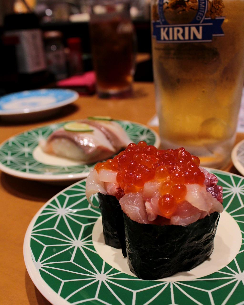 Parent-child sushi at Kaiten Sushi in Kanazawa, Japan