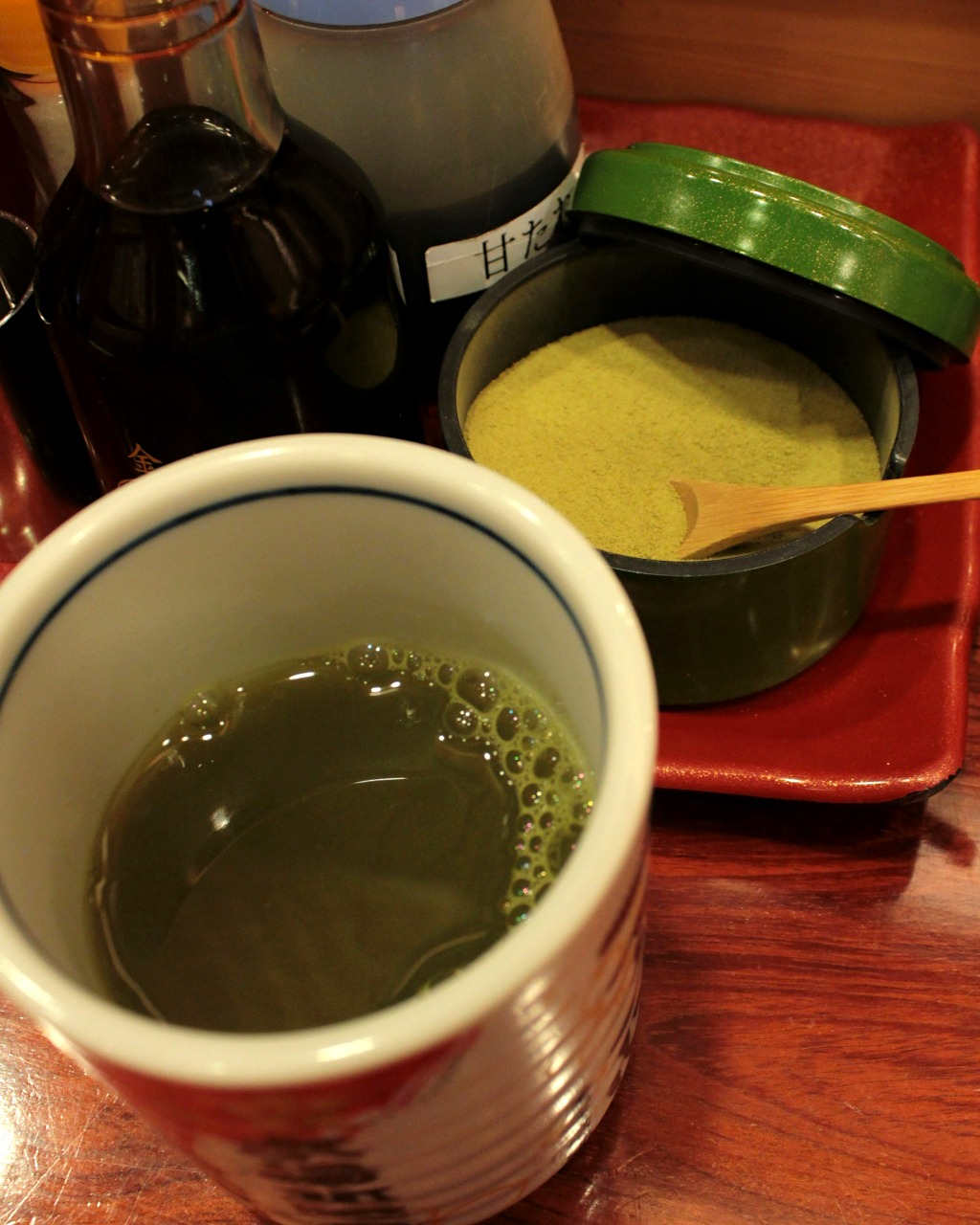 Agari green tea at a sushi train restaurant in Kanazawa, Japan
