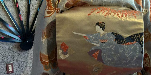 Kimono depicting the geisha game of tosenkyo, inside Kaname Hostel in Kanazawa