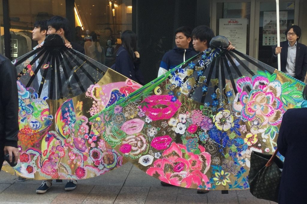 Two of Olesya's tree painted fans for the Tosenkyo Event in Kanazawa