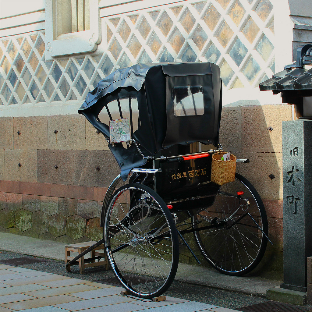 Rickshaw in Higashi Chaya Gai, the eastern geisha district in Kanazawa, Japan