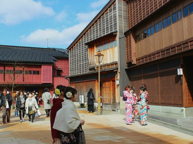 The busy square in Higashi Chaya, the eastern most geisha district in Kanazawa, Japan