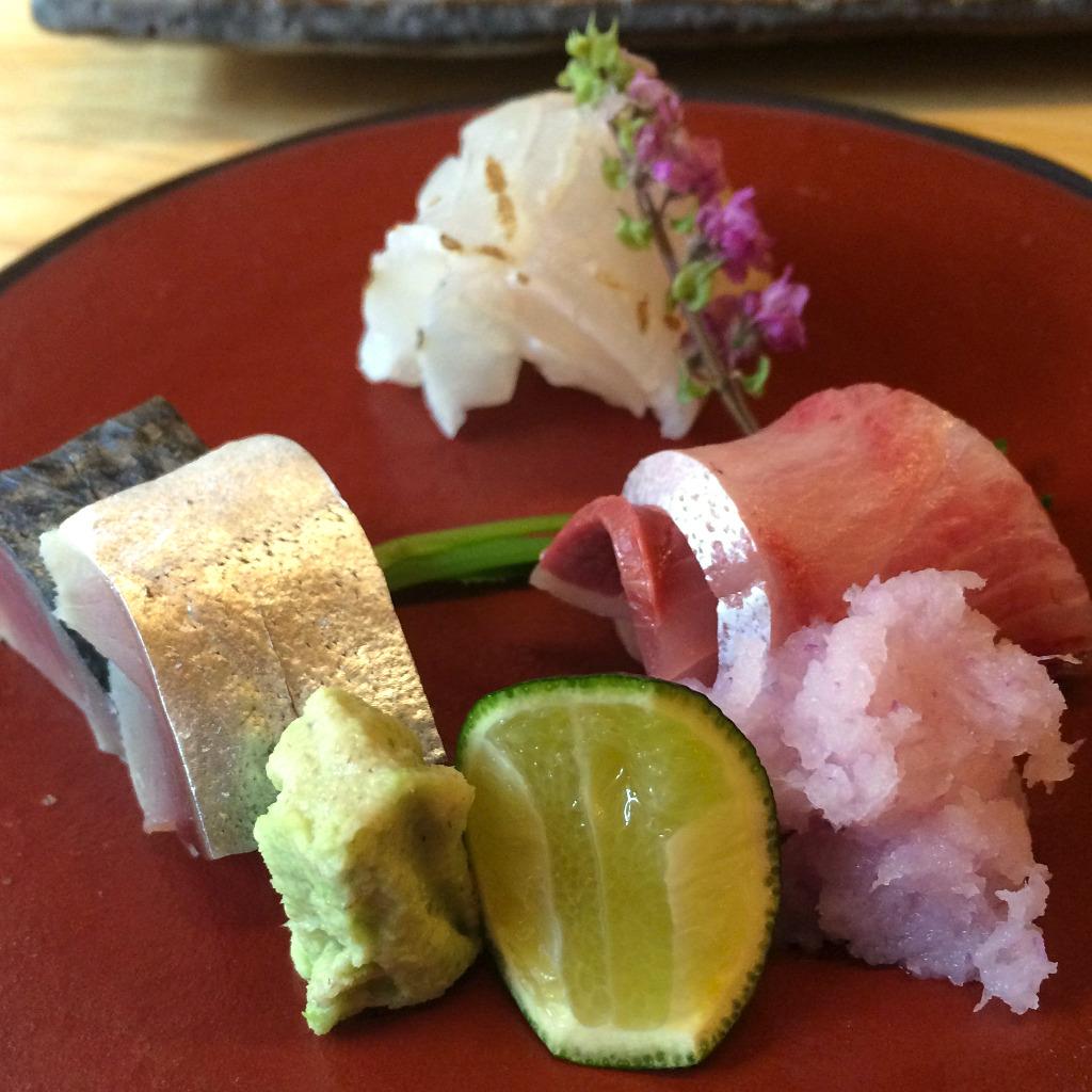 sashimi plate at Tempura Koizumi, Kanazawa restaurant