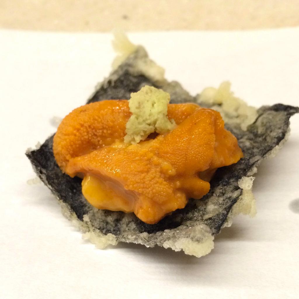 Tempura Koizumi, Kanazawa restaurant, seaweed tempura with uni