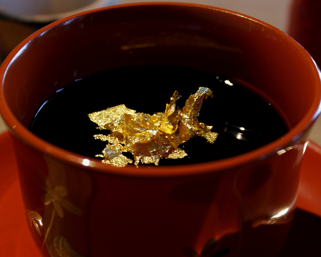 Gold Leaf on Coffee Jelly at the Kanazawa-ya Coffee Shop Head Office