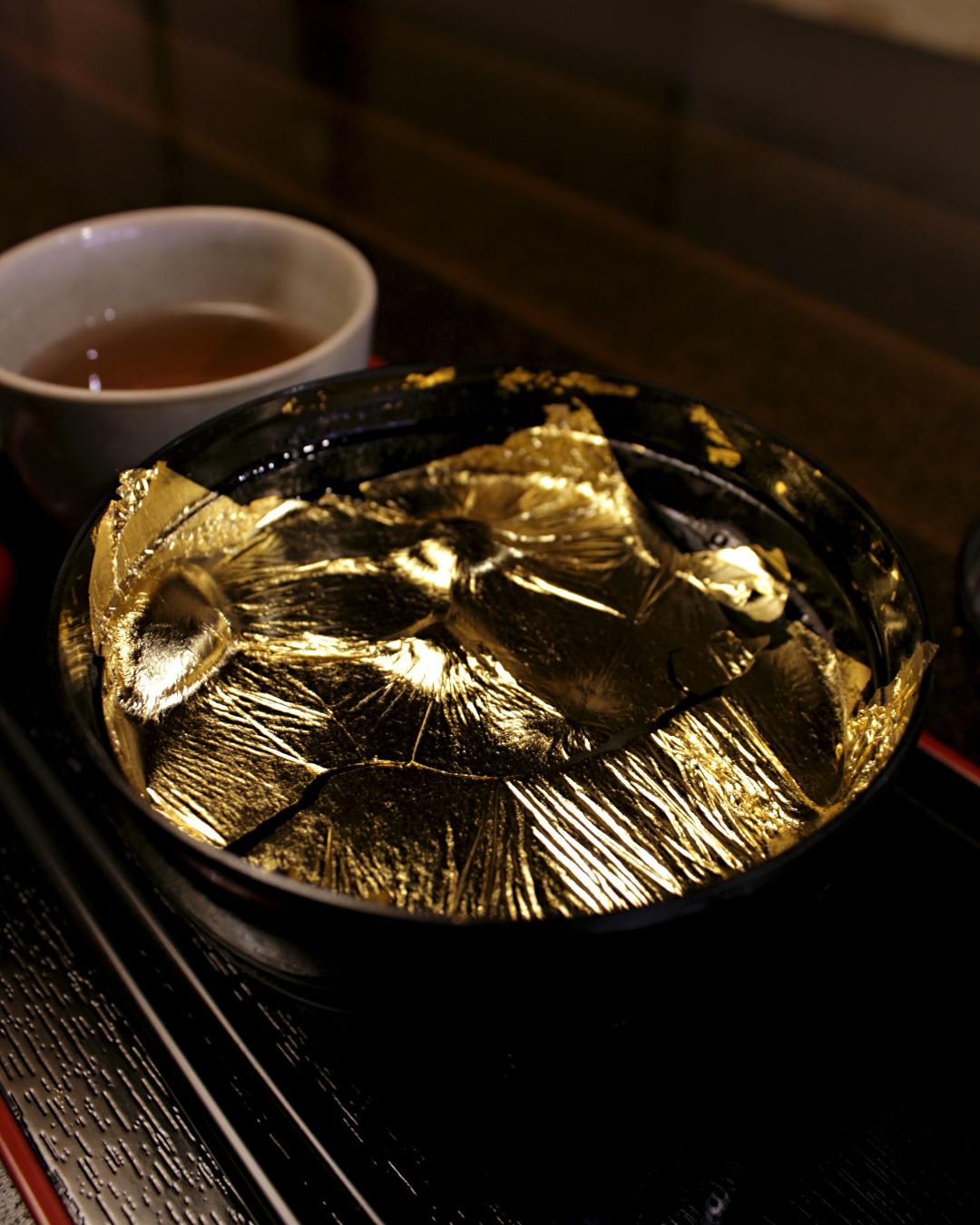 Gold Leaf atop Sweet Bean Soup at Kaikaro Tea House in Higashi Chaya Geisha District, Kanazawa, Japan