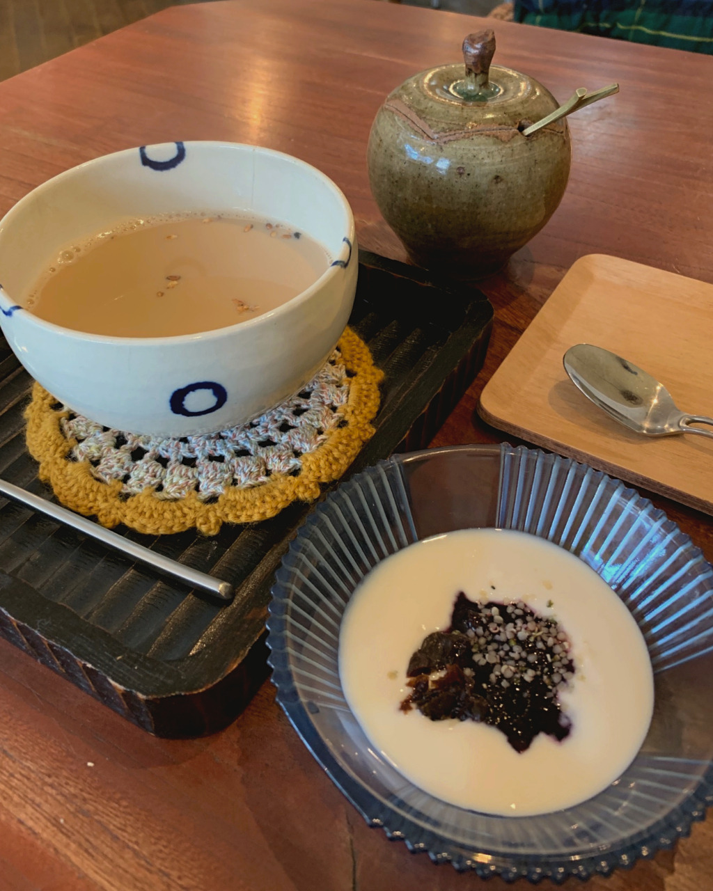 Soy milk yogurt and amazake and soy milk spiced chai for dessert at Ihanoha Vegan Cafe in Kanazawa, Japan