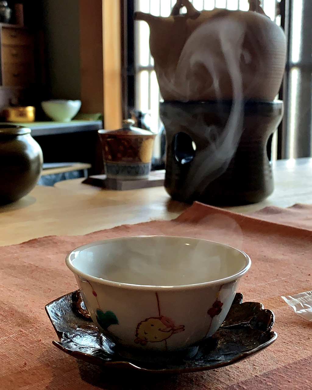 Hot cup of water for tea at Mikoto Tea House in Kanazawa, Japan