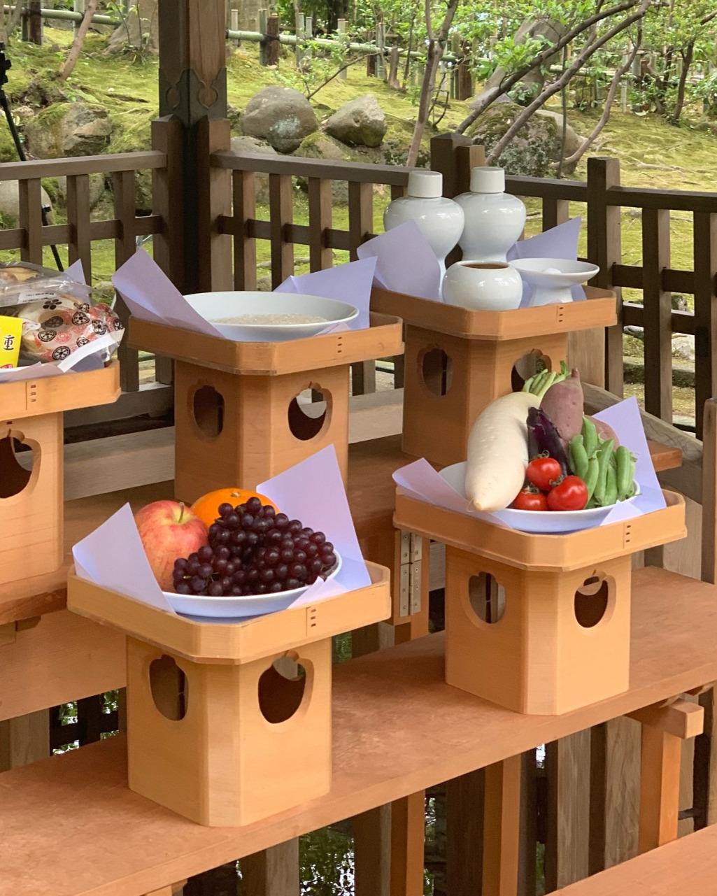 Offerings at the sacred well at Kanazawa Shrine for the start of the Hyakumangoku Festival