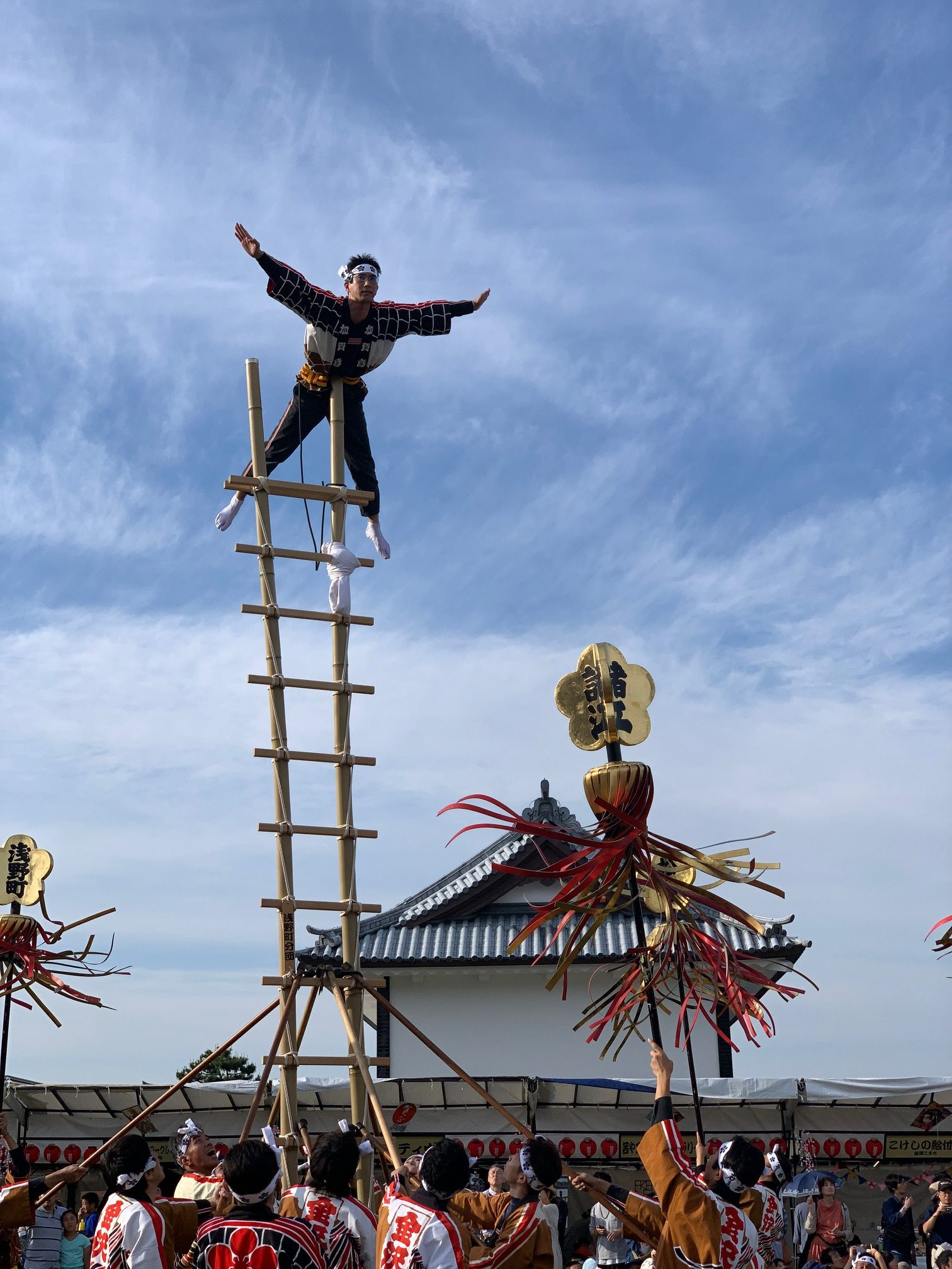 Kagatobi firefighters demonstrate 300 year old acrobatic techniquest at the Hyakumangoku Festival