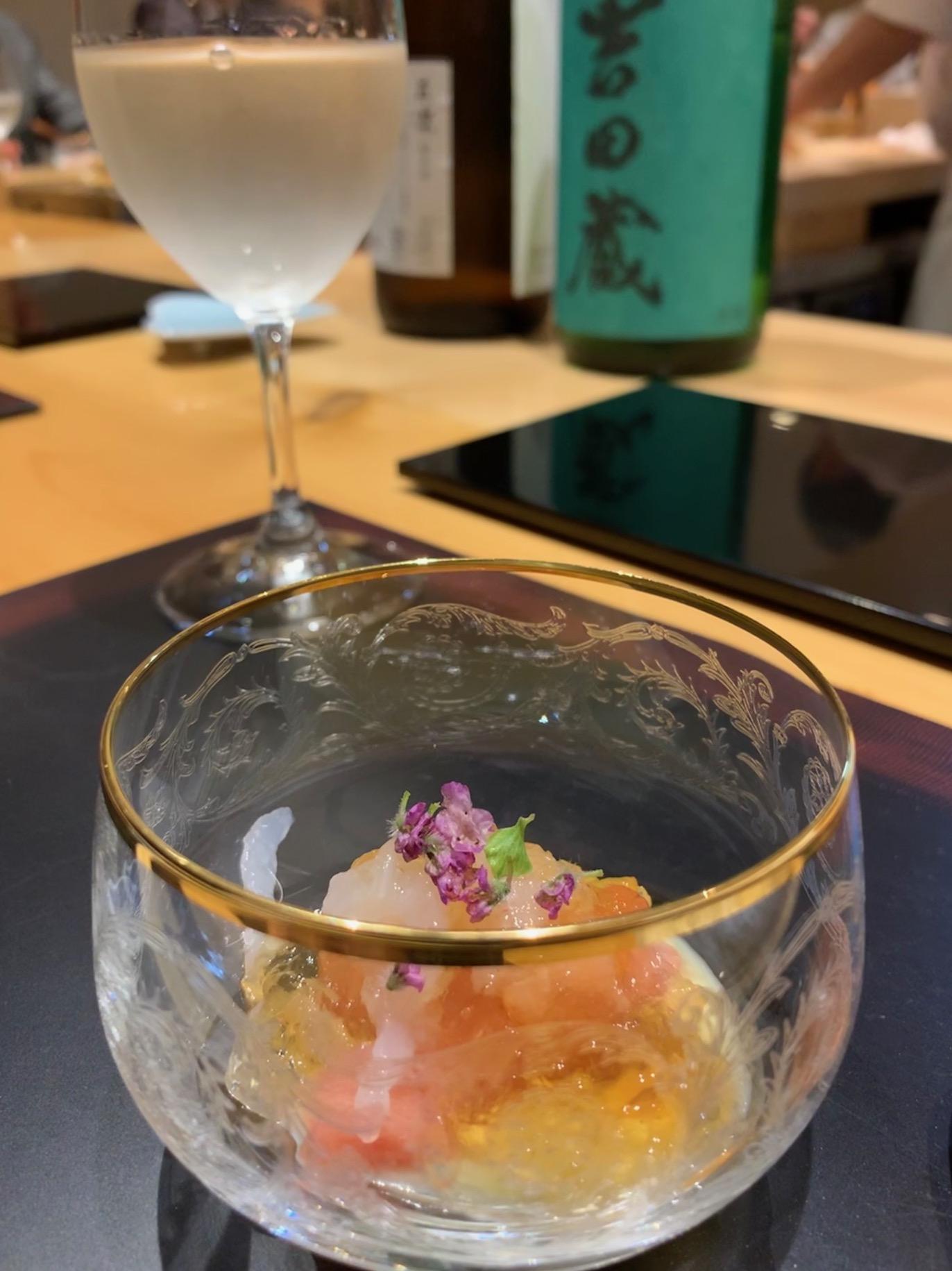 Sushi Issey, Kanazawa, jelly and sashimi bowl with sake