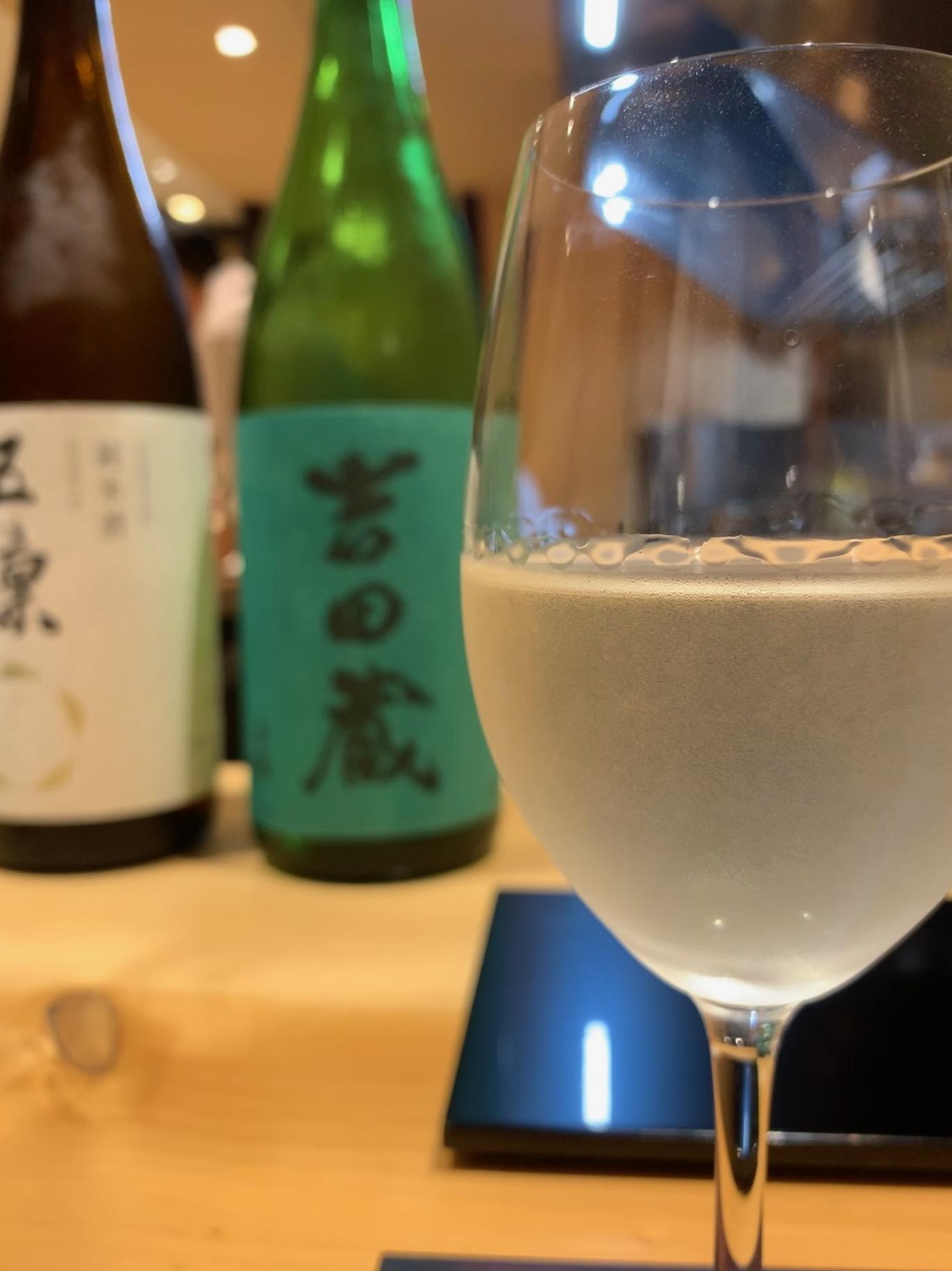 Sake glass at Sushi Issey, Kanazawa