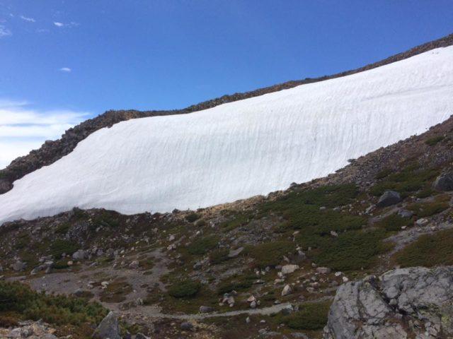 Snow wall near the top of Mount Haku