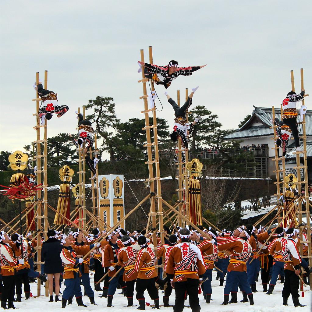 dezome shiki firefighter acrobats of the kaga region in Kanazawa