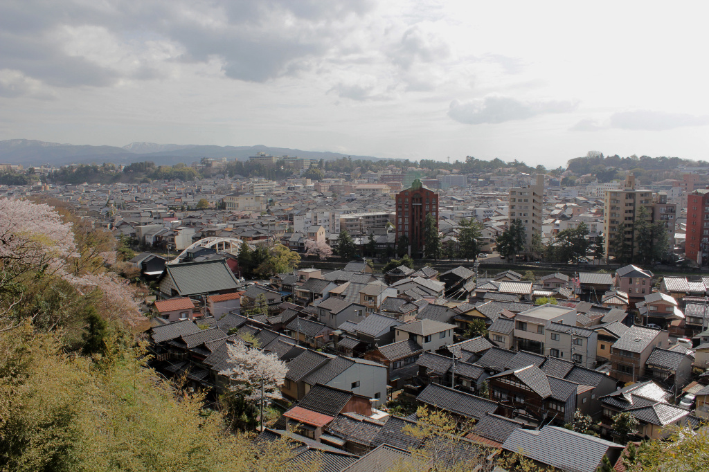 A bird's eye view of Kanazawa, from Hosen-ji Temple behind the Higashi Chaya Geisha District.