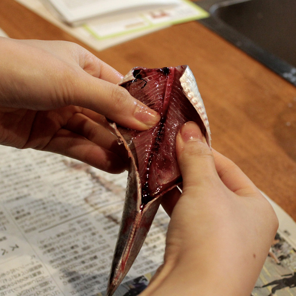 deboning a small fish by hand to prepare for fish paste during a cooking class in Kanazawa, Japan
