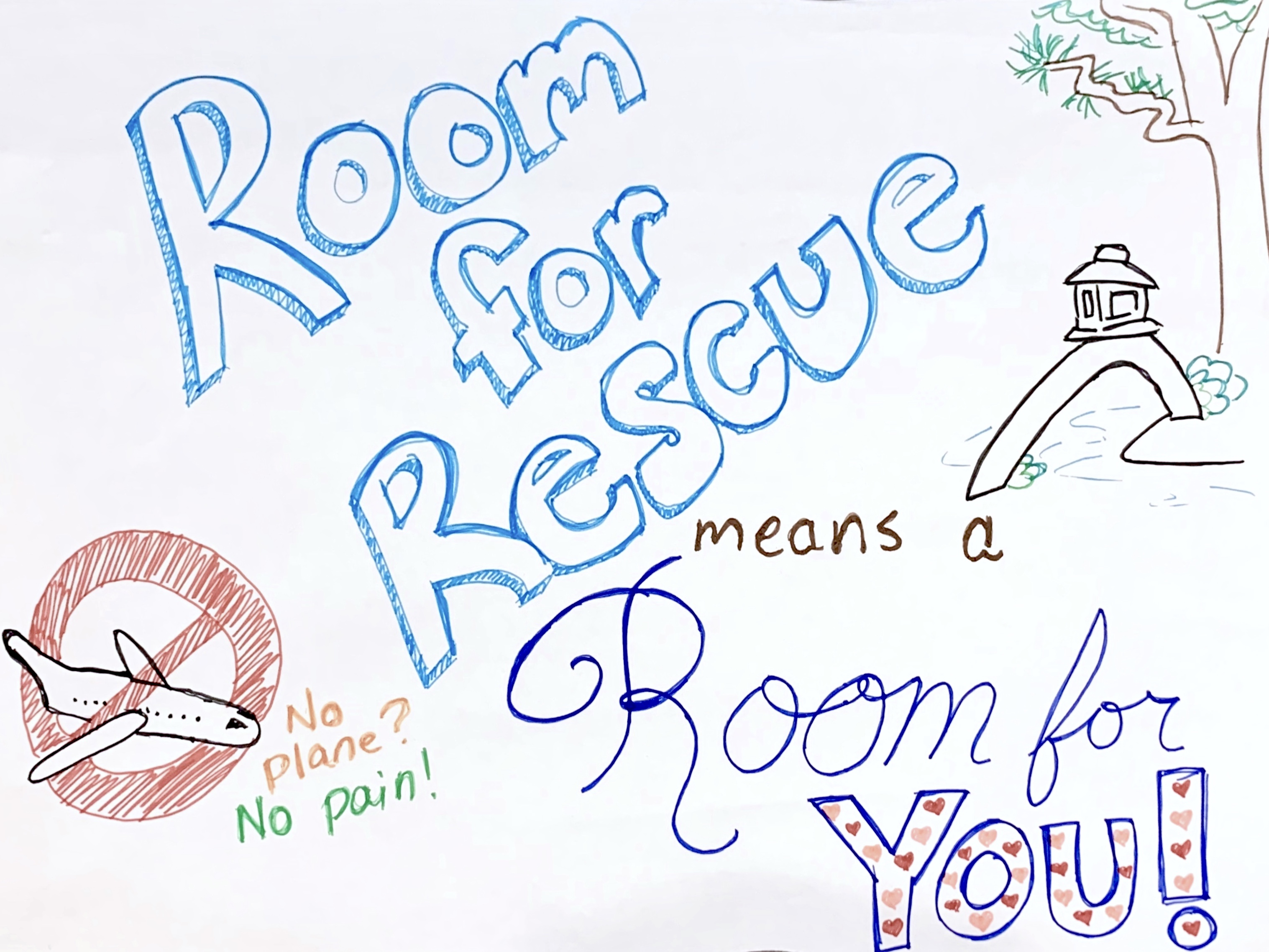 """Room for Rescue"" poster, which reads, ""Room for Rescue means a room for you!"" and ""No plane? No pain."""