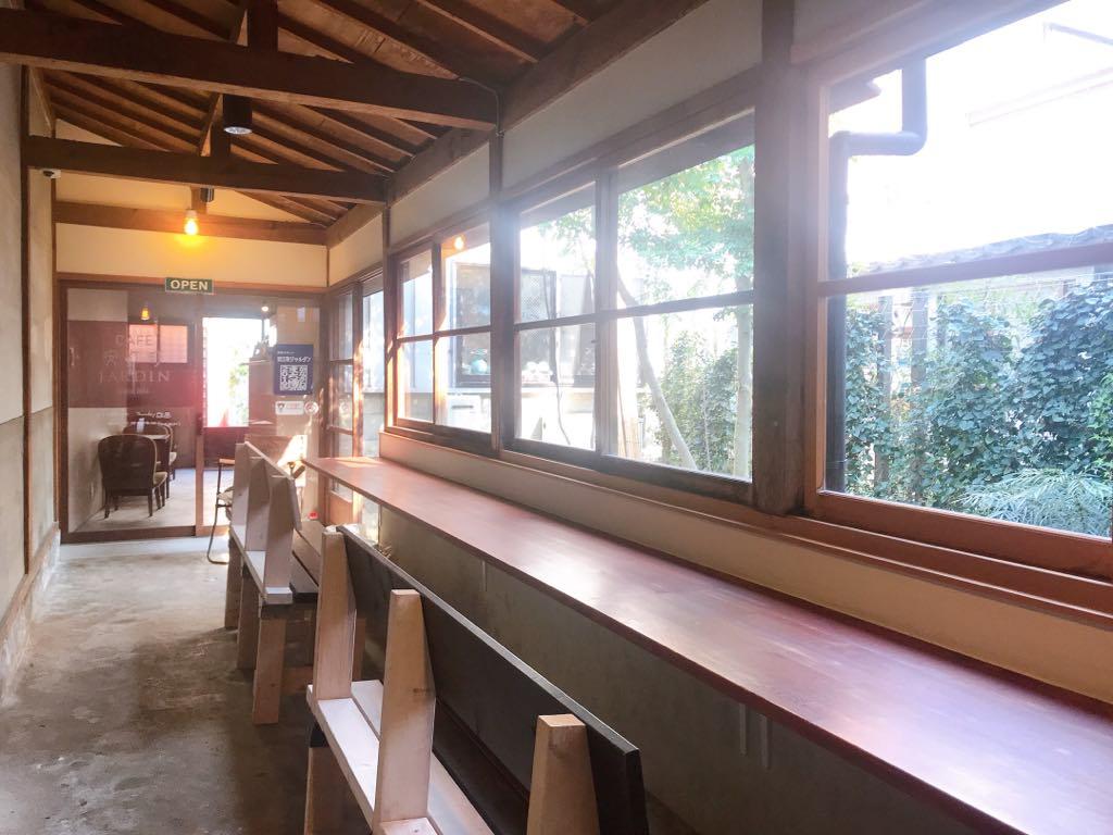 Long hall and seating in Yasue Jardin, near Kanazawa Station