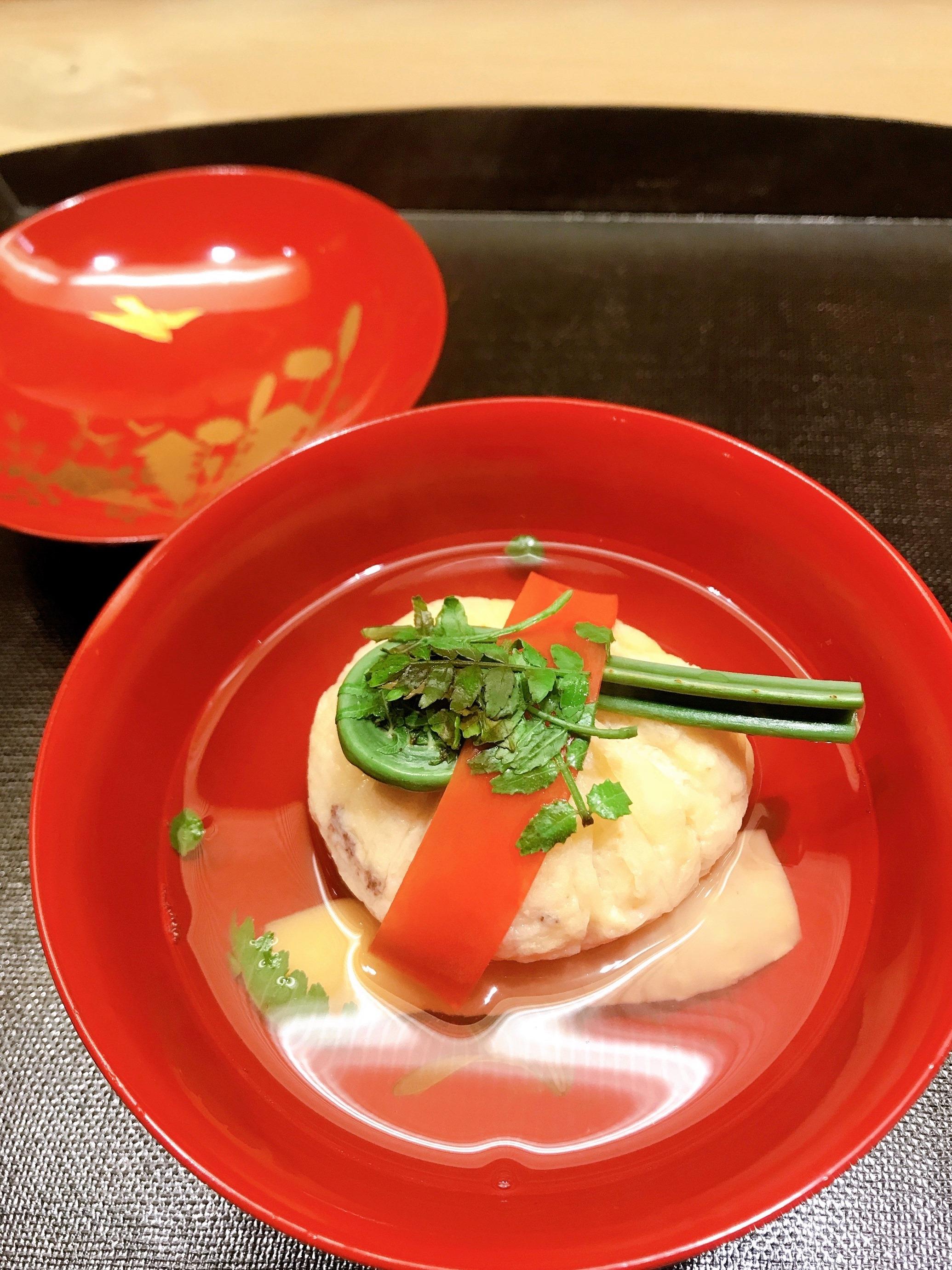 A bowl of carefully prepared soup at Yokoyama in Kanazawa, Japan