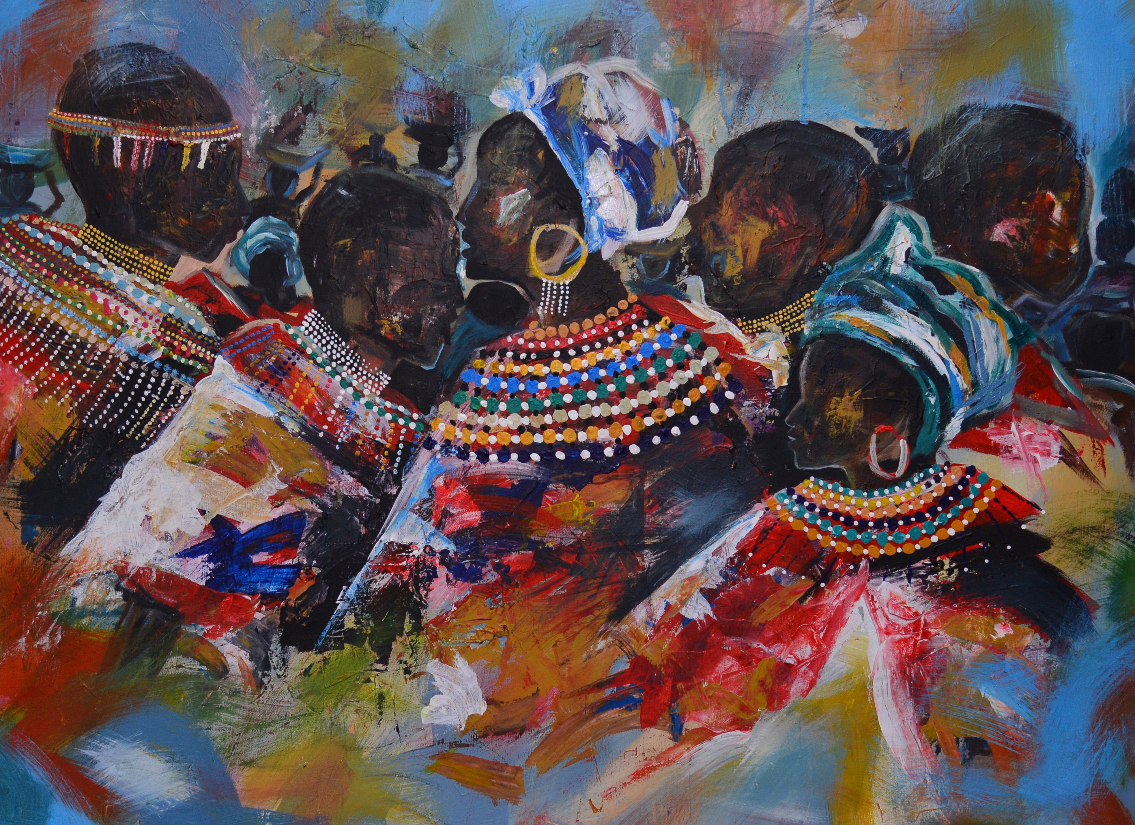 One of the works by Ganza Odart, Rwandan artist, featuring the forms of African women