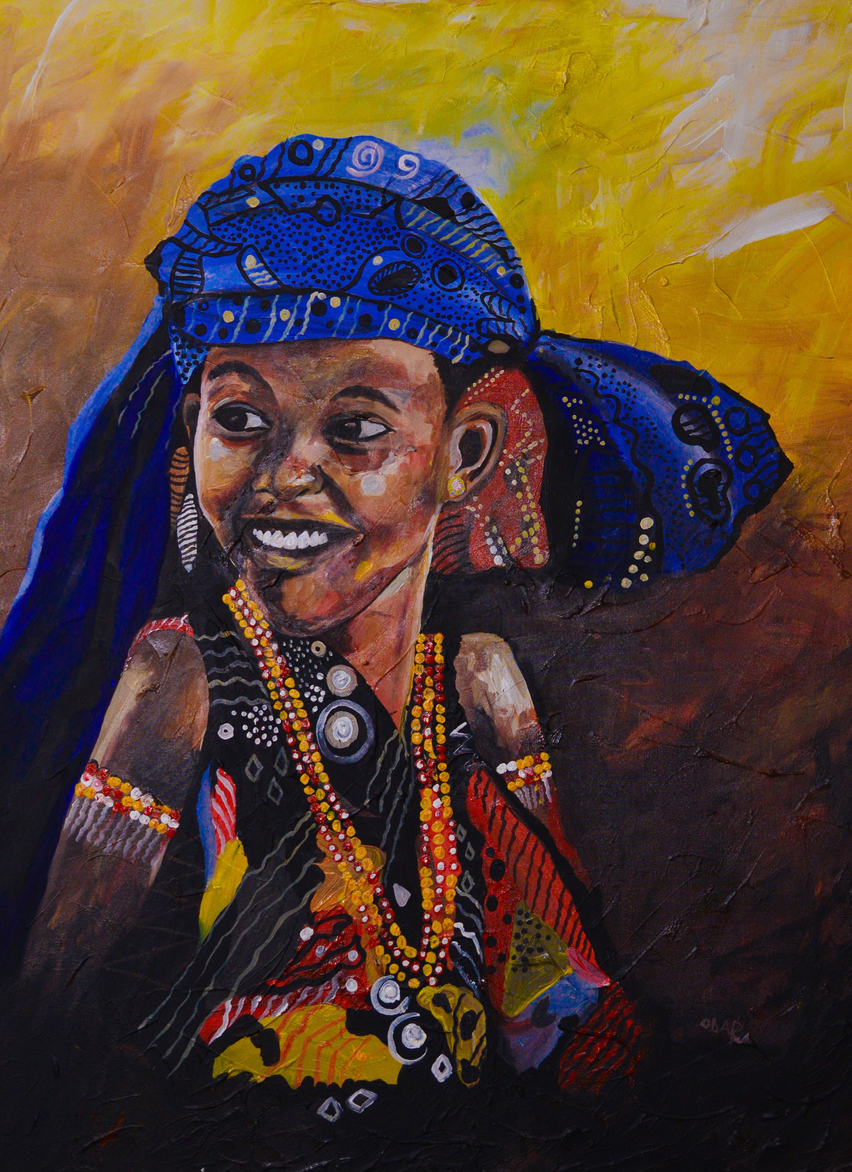 Portrait of a young woman by Rwandan artist, Ganza Odart
