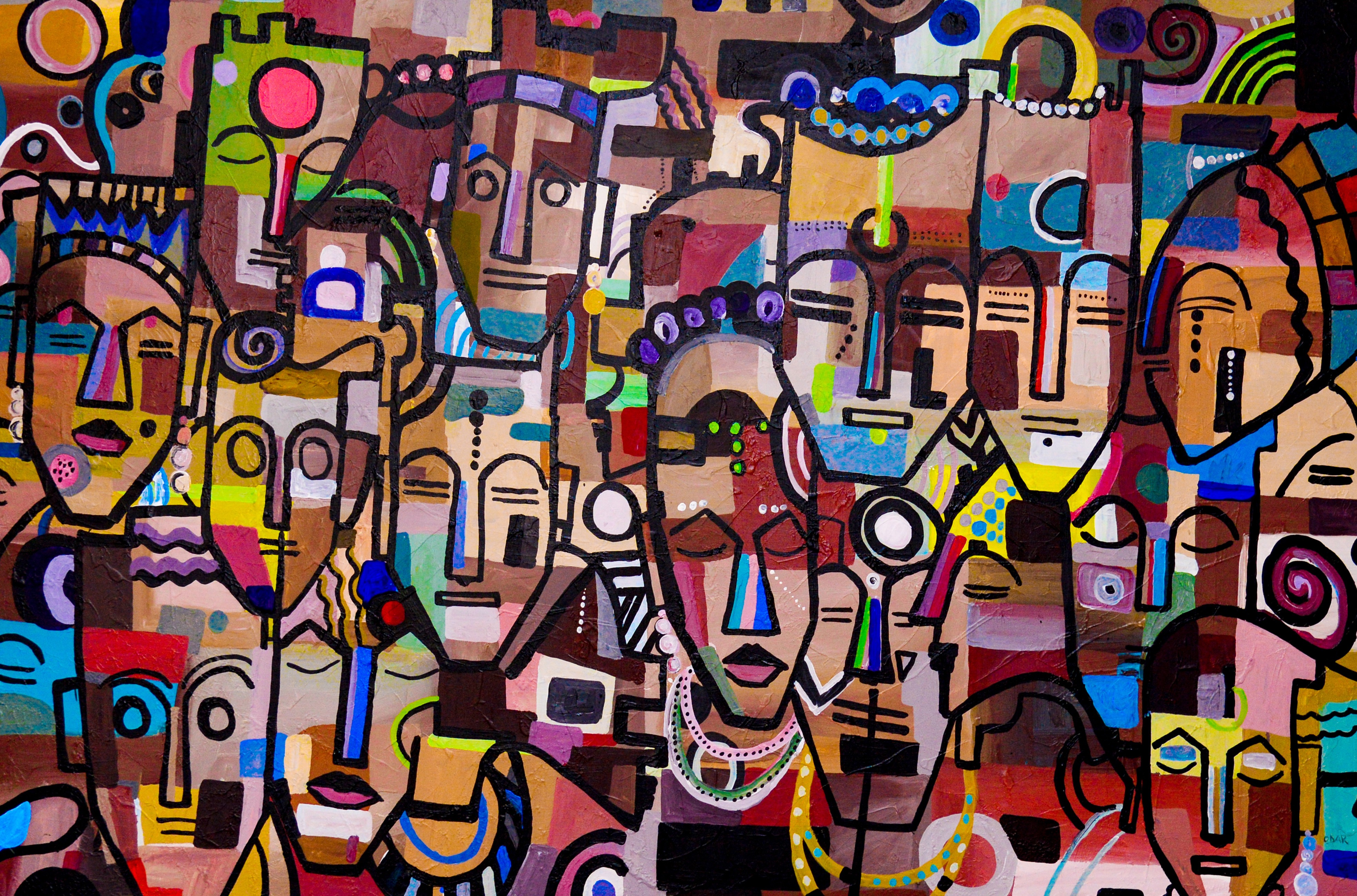 Abstract painting of African faces by Rwandan artist, Ganza Odart