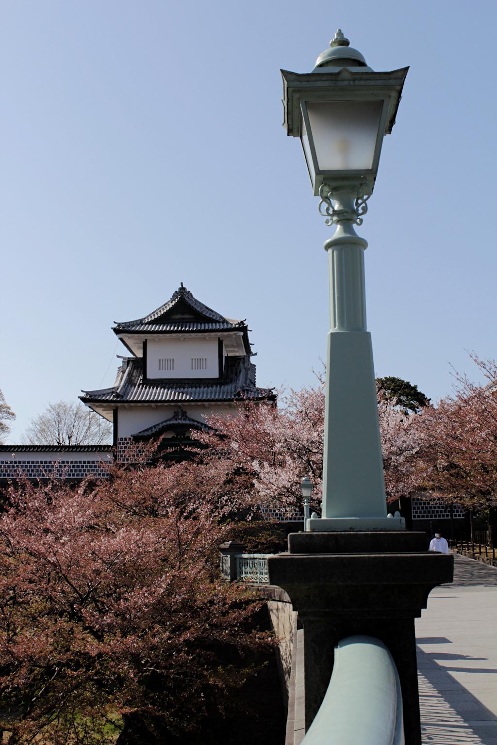 The view of Ishikawa-mon Gate of Kanazawa Castle from Kenrokuen Garden.