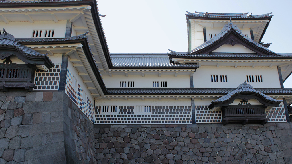Outside of the Hishiyagura Tower, with it's 100 degree angled wall and staggered windows.