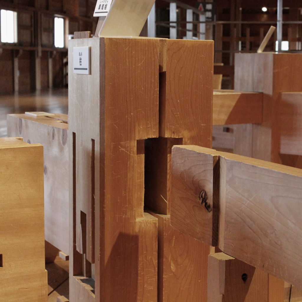 The puzzle box construction of Kanazawa Castle's fittings is on display inside the main complex.