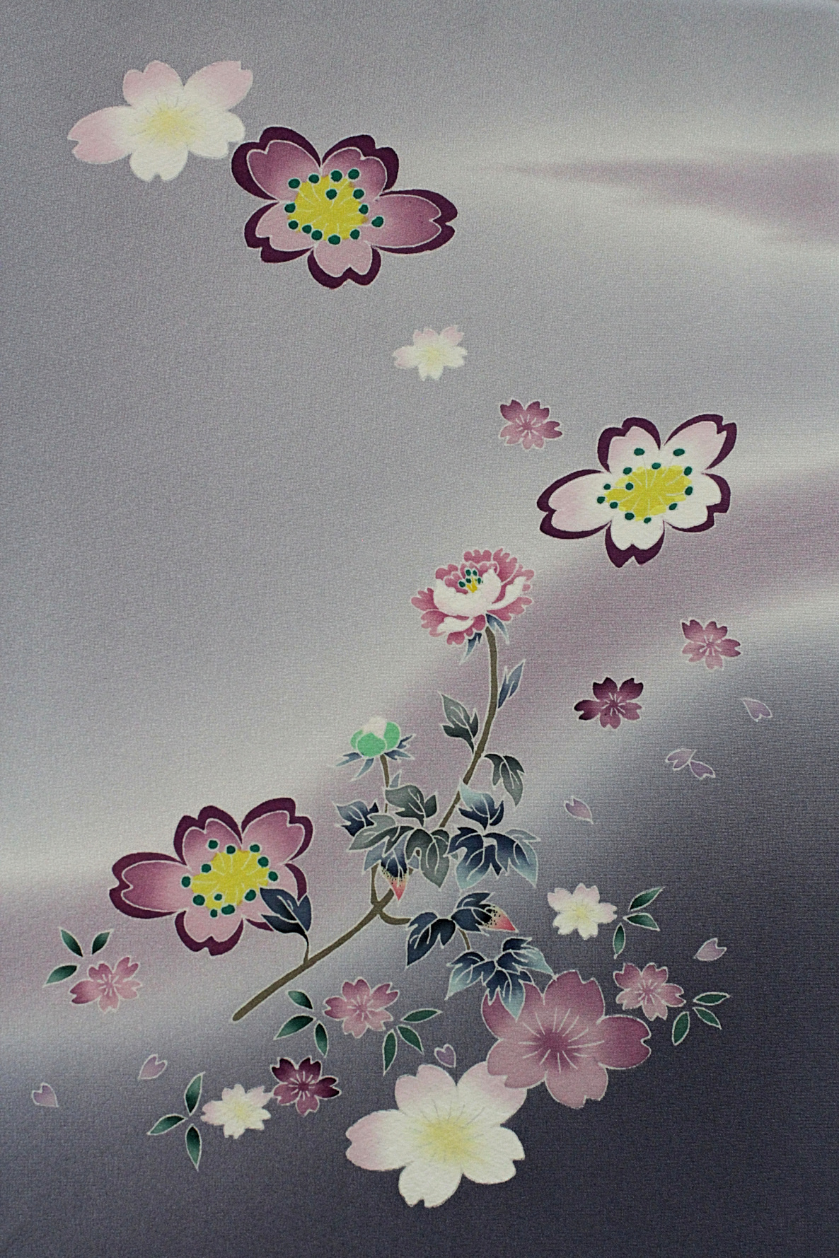A depiction of flowers in the wind against a misty gray and purple background, painted on Kaga-yuzen silk for a kimono and designed by Teranishi