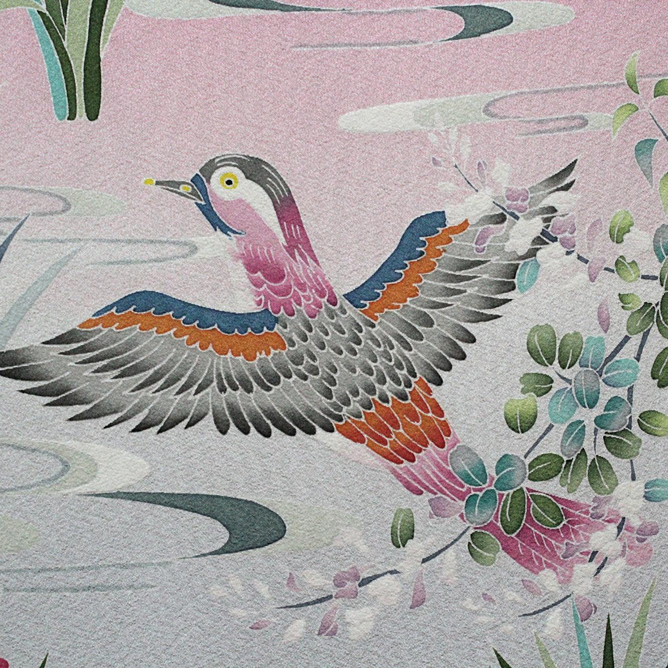 Kaga-yuzen silk painting of a female duck