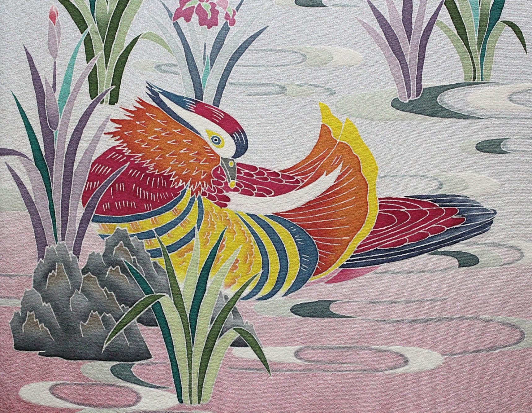 Kaga-yuzen silk painting of a male duck